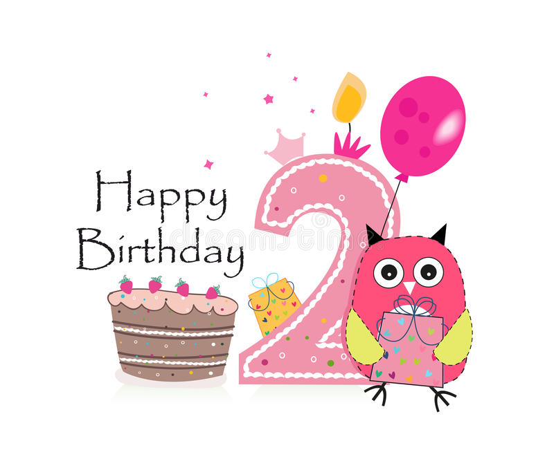 Second Birthday Greeting Card Cute Owl Balloon And Birthday Cake