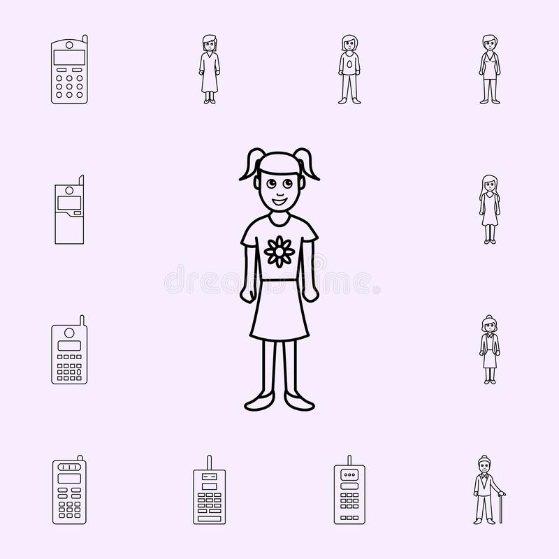 the second childhood period of a girl icon. Generation icons universal set for web and mobile stock illustration