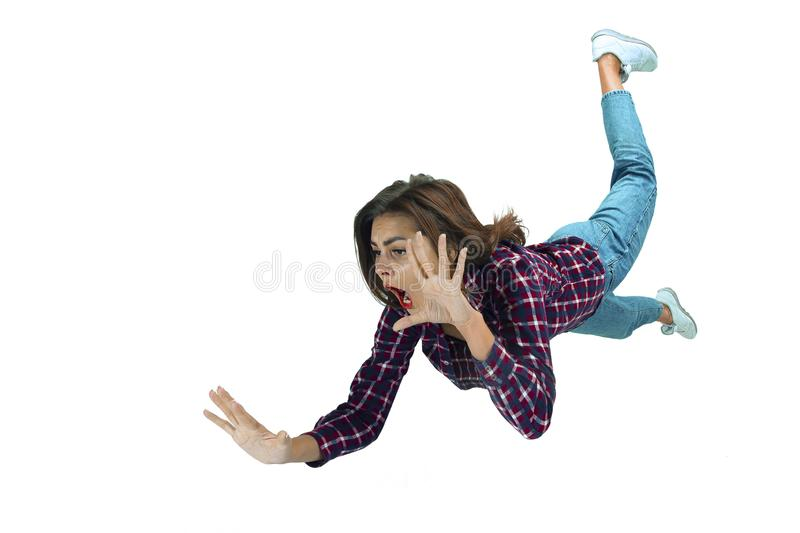 A second before falling - young girl falling down with bright emotions and expression royalty free stock photos