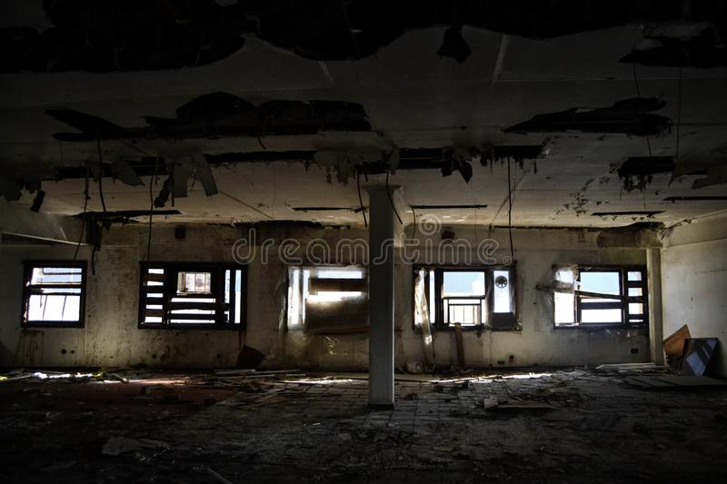Second floor of an abandoned factory in Vigo. This place was an old factory that now is just where homeless people live, is totally in ruins royalty free stock photos