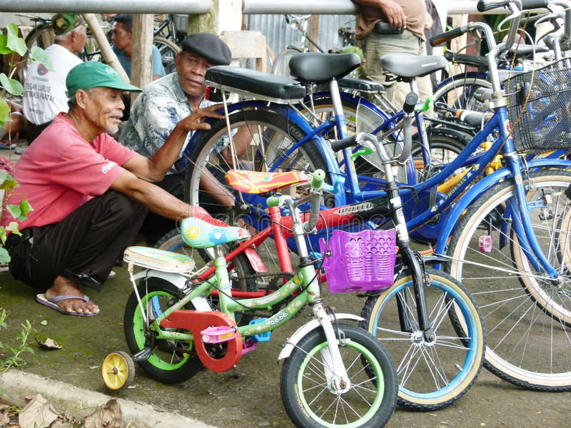 Second hand bikes. Various second-hand bikes for sale at a flea market in Boyolali, Central Java, Indonesia royalty free stock photography