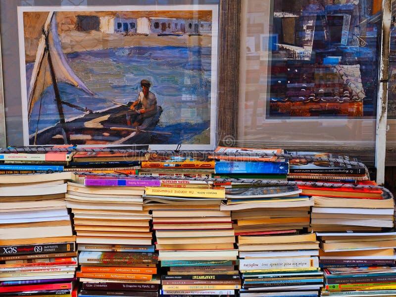 Second Hand Books, Athens Flea Market, Greece stock image