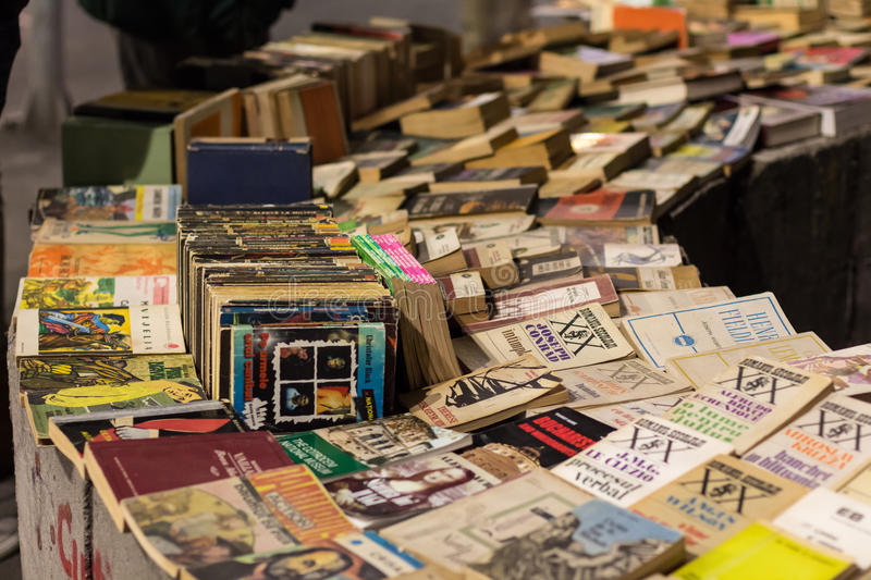 Second hand books. On sale in a street royalty free stock photo