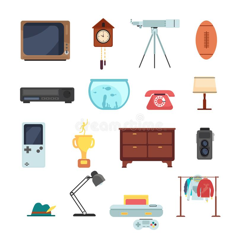 Second hand clothes, vintage goods from flea market vector set isolated on white background. Objects antique, for market garage, telescope and phone, aquarium stock illustration