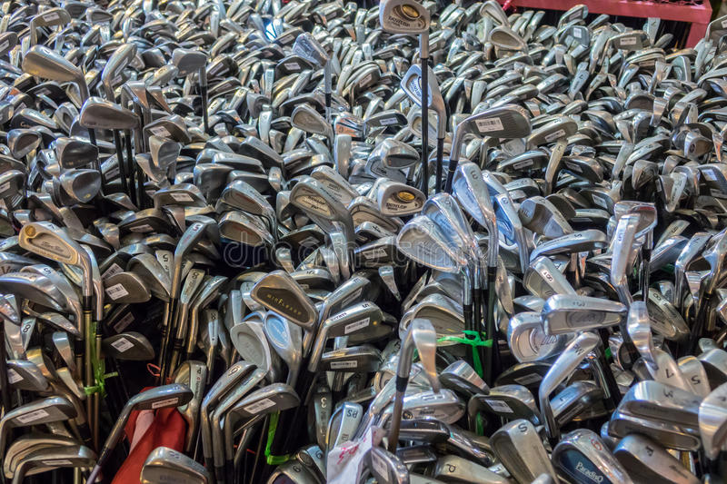 Second hand golf. Chonburi, Thailand-April 21,2017: Suriyan Second hand golf club Lots of sizes imported from Japan in Thailand royalty free stock photos