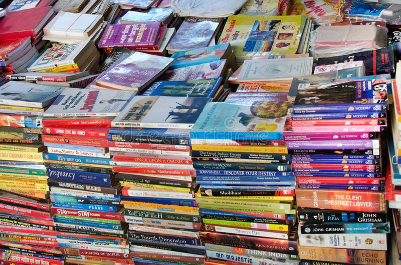 Second hand old books. Second hand, cheap, used, old books sold in bargain to readers in the city of Ahmedabad, India royalty free stock image