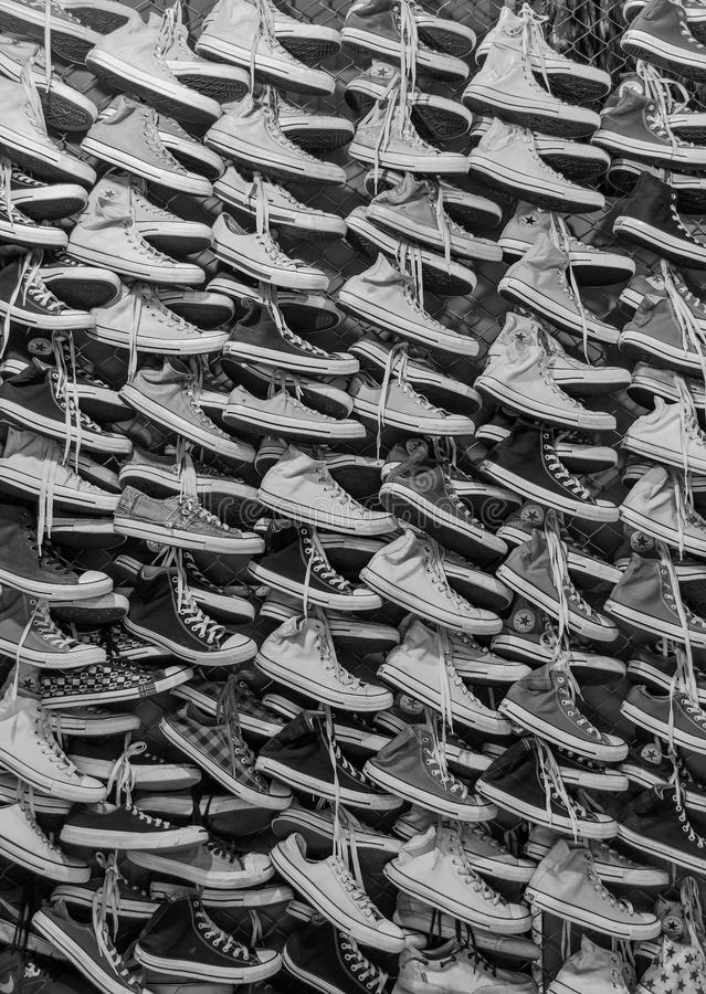 Second hand shoes in Rong Kluea market royalty free stock images