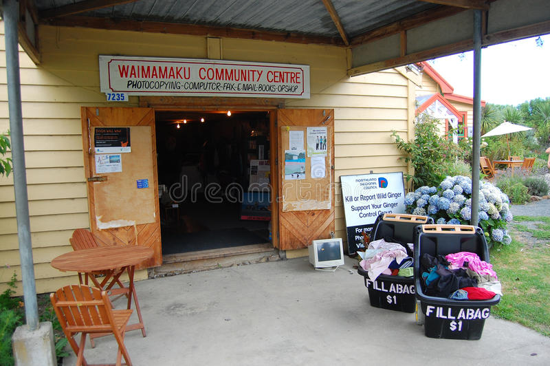 Second hand store at community centre. Second hand store in village at community centre, North Island, New Zealand stock image