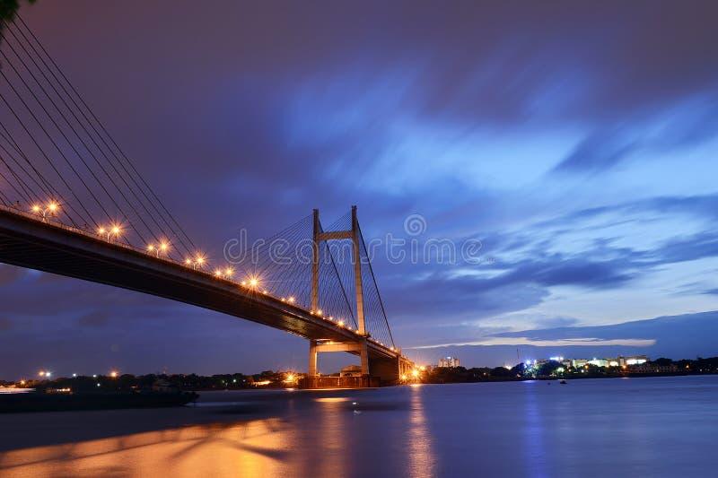 Second Hooghly Bridge-Kolkata. Vidyasagar Setu, also known as second Hooghly Bridge, a Golden Gate Bridge which connects the twin cities of Kolkata and Howrah stock photo