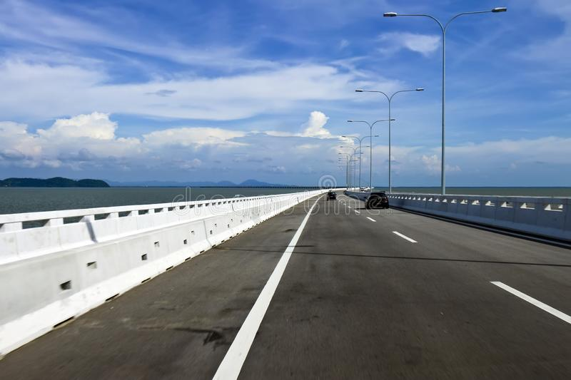 Sultan abdul halim muadzam shah bridge penang. The second penang bridge that connects penang with the malaysian mainland was opened in 2014 stock photo