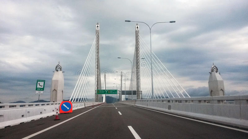 Second Penang Bridge. On the road through second Penang Bridge, Sultan Abdul Halim Muadzam Shah Bridge stock photo