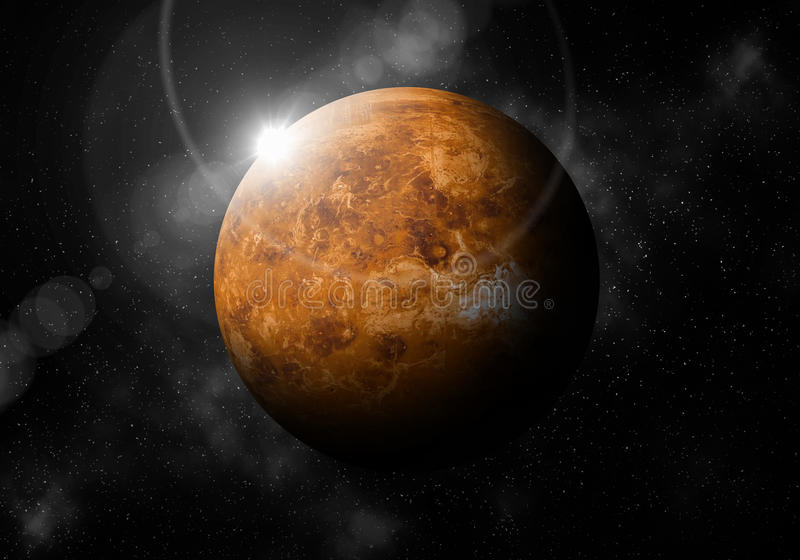 Second planet from the Sun is Venus ,Solar system planetarium.  stock illustration