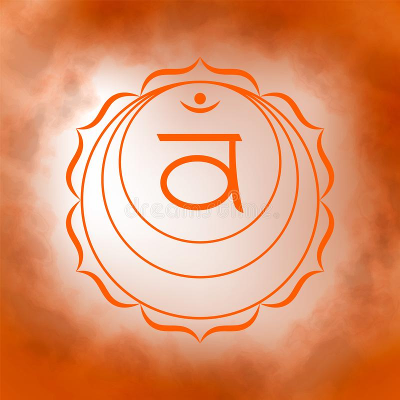 Second, sacral chakra - Swadhisthana. Illustration of one of the seven chakras. The symbol of Hinduism, Buddhism. Orange watercolor fog on background vector illustration
