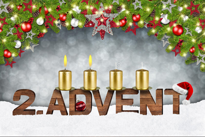Second sunday of advent. Concept xmas background with candles ball bauble stars and red silver decorated fir branches royalty free illustration