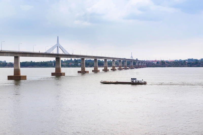 Second thai lao friendship bridge across the mekong river on mukdahan, thailand. View of second thai lao friendship bridge across the mekong river on mukdahan royalty free stock images