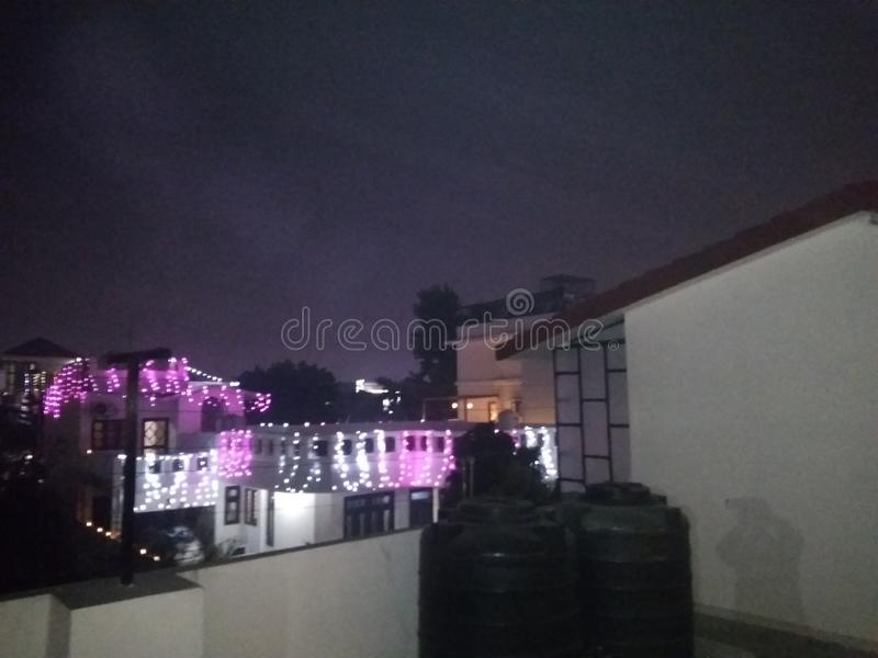 A second to none glamorous night view of Deepawali festival decoration lights. Of homes from the roof of my house at Badripur, Dehradun, India on 27 October royalty free stock images