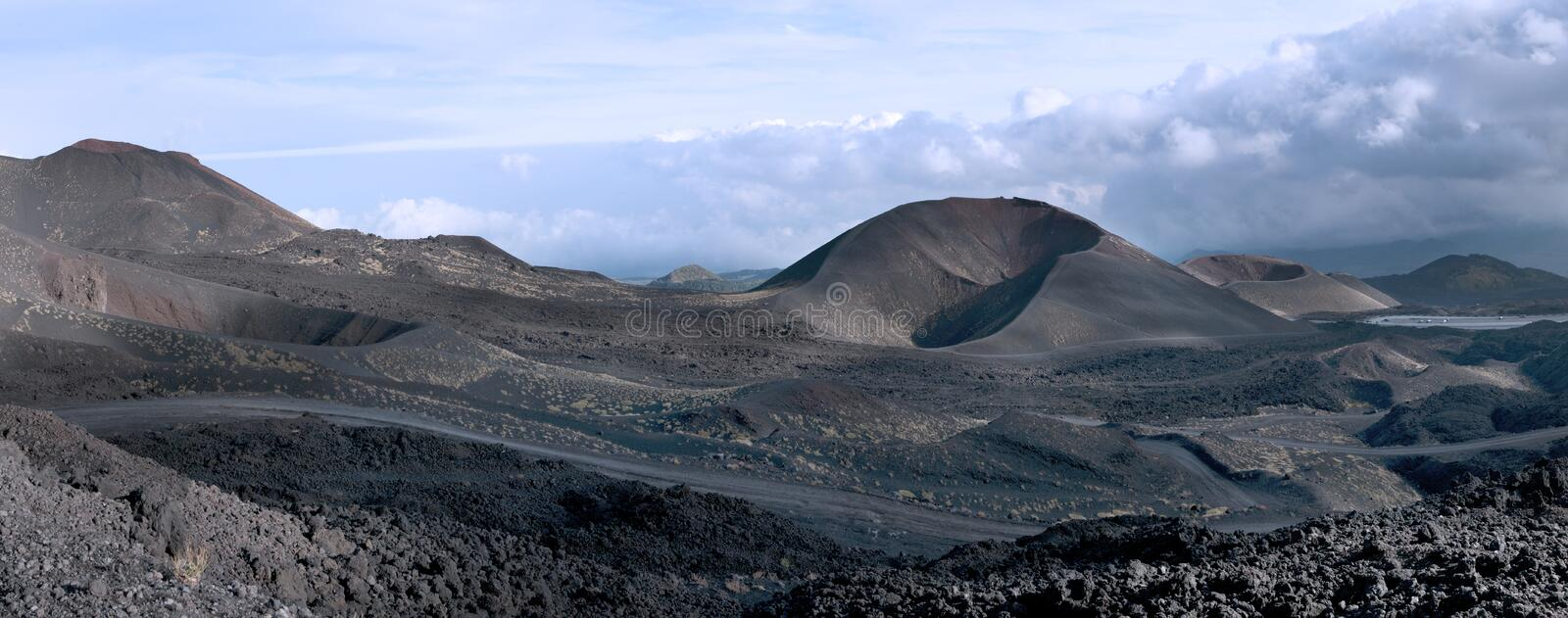 A lateral crater, Mount Etna, Sicily. The landscape with a lateral crater, Mount Etna, Sicily stock image