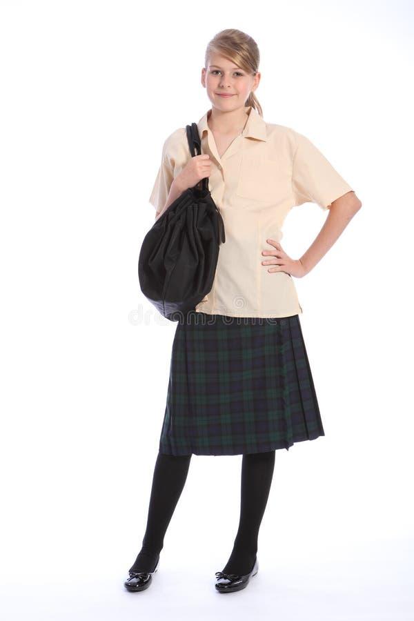 Secondary education pretty girl in school uniform stock photos