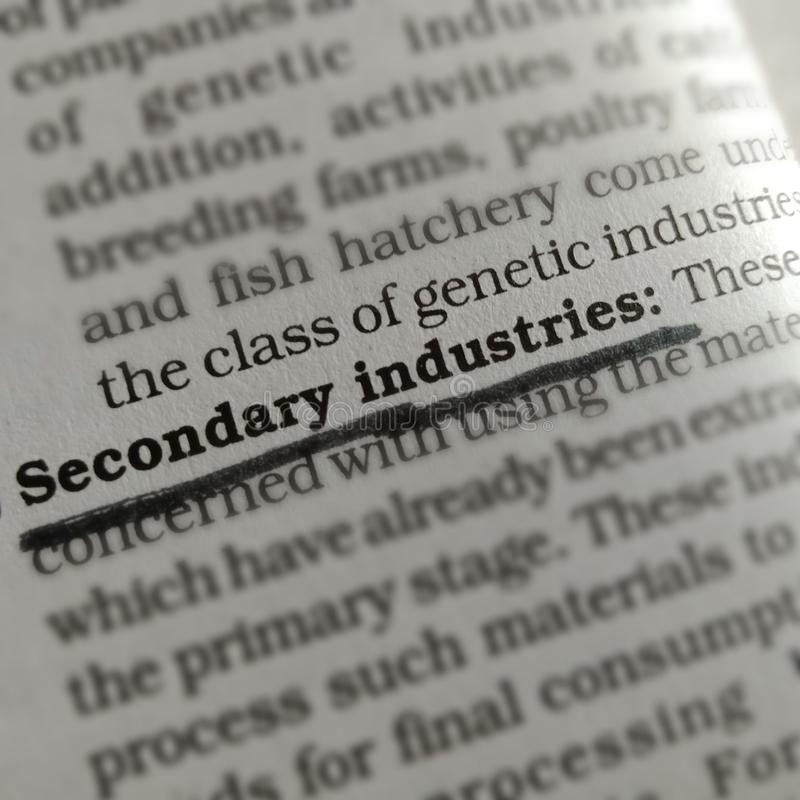 secondary industries bussiness related terminology displayed on paper page royalty free stock photo