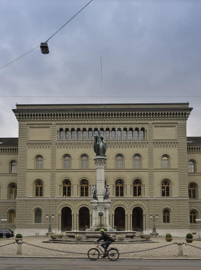 Secondary wing of the Bundeshouse (Switzerland parliament) from Bundesplatz Bern. Switzerland. Fron view of entrance in secondary wing of the Bundeshouse ( royalty free stock image
