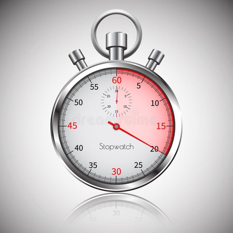 20 secondes Chronomètre réaliste argenté avec la réflexion Vecteur illustration de vecteur