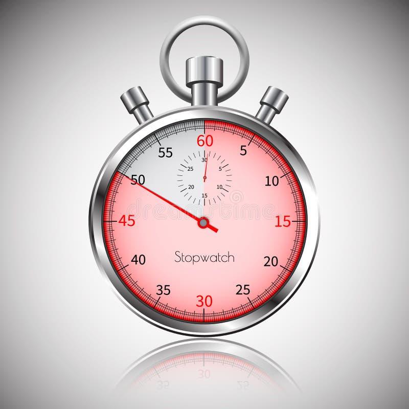 50 secondes Chronomètre réaliste argenté avec la réflexion Vecteur illustration libre de droits