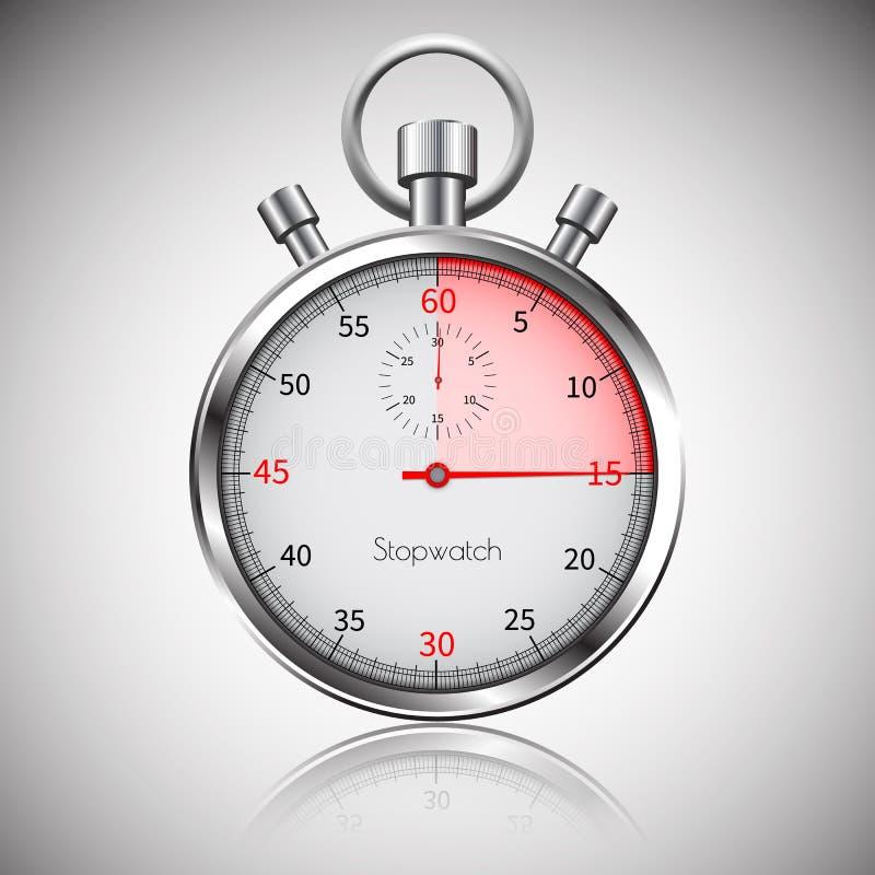 15 secondes Chronomètre réaliste argenté avec la réflexion Vecteur illustration libre de droits