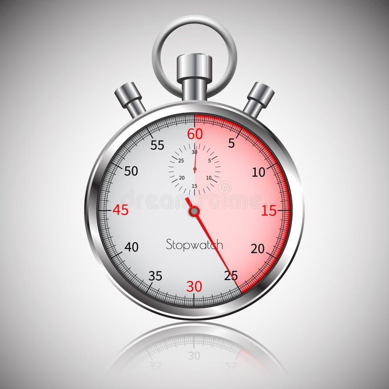 25 secondes Chronomètre réaliste argenté avec la réflexion Vecteur illustration libre de droits