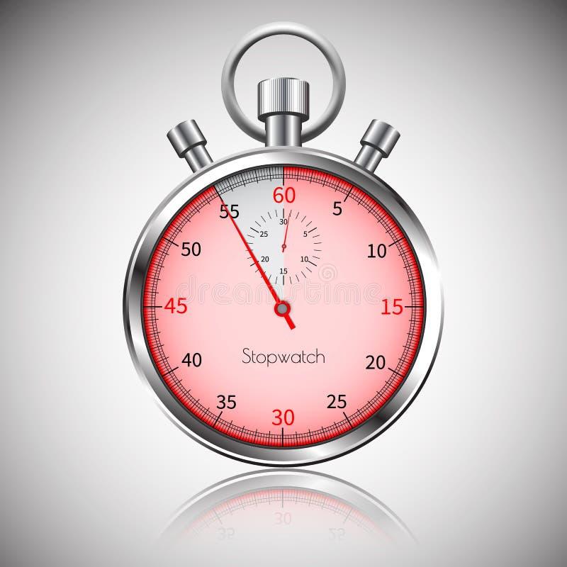 55 secondes Chronomètre réaliste argenté avec la réflexion Vecteur illustration libre de droits