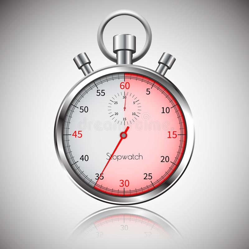 35 secondes Chronomètre réaliste argenté avec la réflexion Vecteur illustration de vecteur