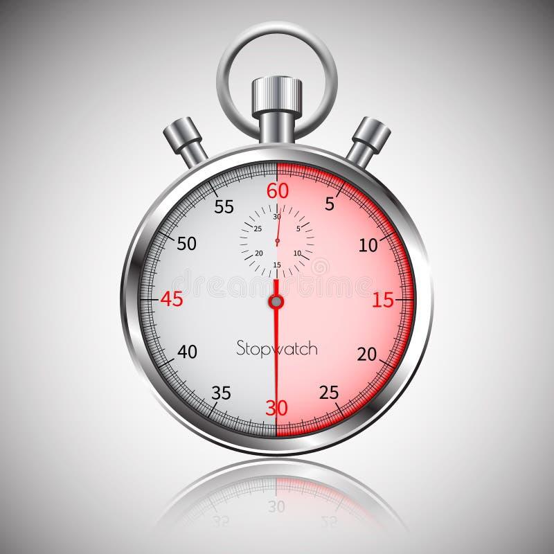 30 secondes Chronomètre réaliste argenté avec la réflexion Vecteur illustration stock