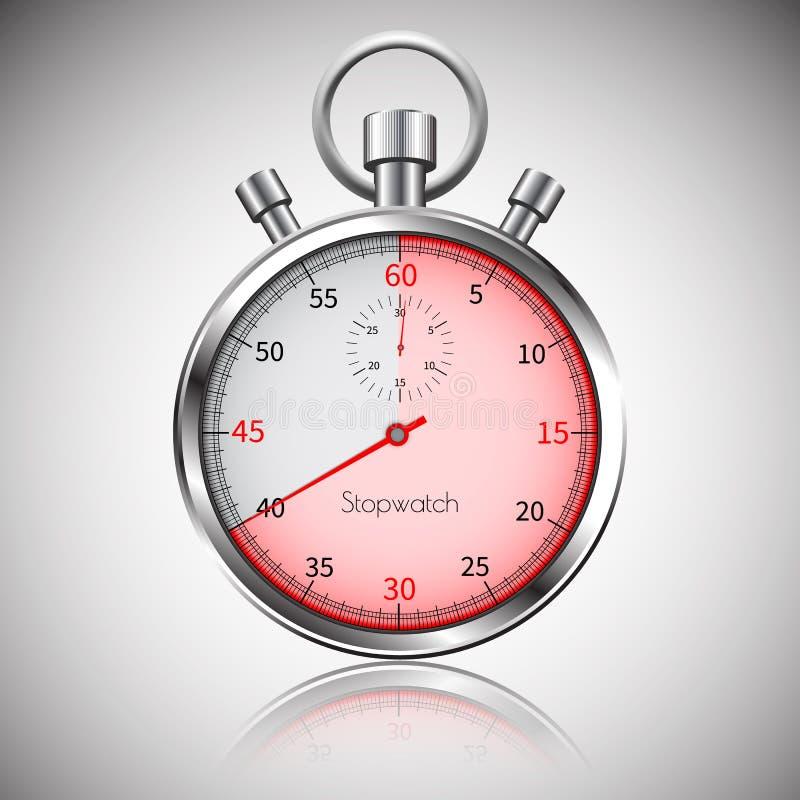 40 secondes Chronomètre réaliste argenté avec la réflexion Vecteur illustration libre de droits