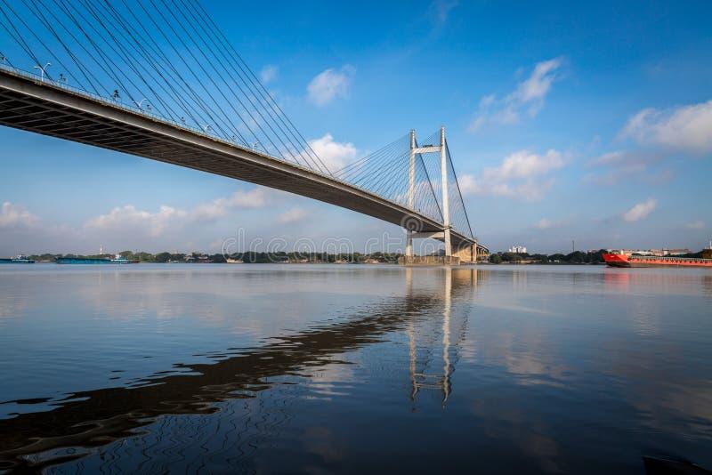 In secondo luogo ponte del fiume di Hooghly - il ponte strallato più lungo in India fotografia stock libera da diritti