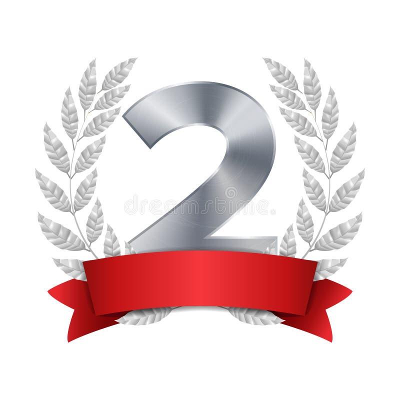 secondo vettore del premio del trofeo Secondo risultato d'argento di disposizione Figura 2 due in Laurel Wreath d'argento realist illustrazione vettoriale