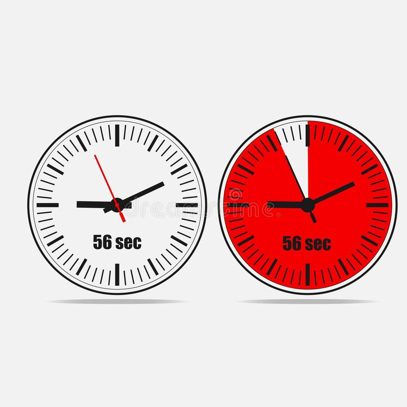 56 seconds clock icon on gray background stock illustration