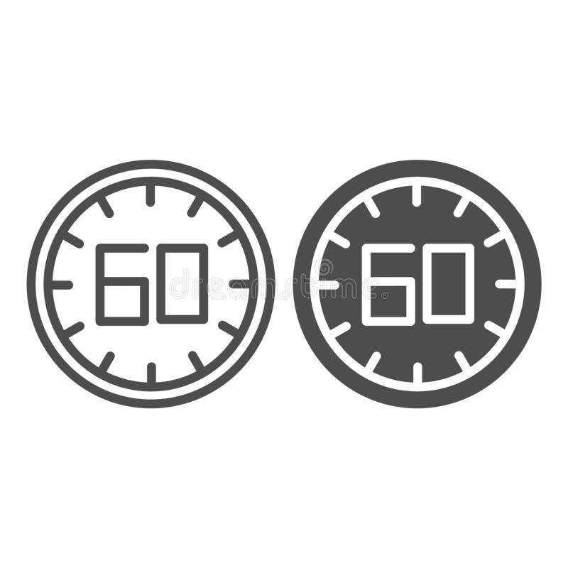 60 seconds line and glyph icon. 60 minutes time vector illustration isolated on white. One hour outline style design. Designed for web and app. Eps 10 stock illustration