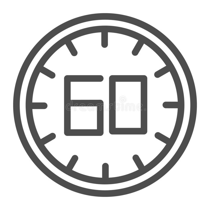 60 seconds line icon. 60 minutes time vector illustration isolated on white. One hour outline style design, designed for stock illustration