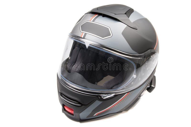 Secousse brillante noire grise de moto vers le haut de secousse-avant de casque d'isolement photos stock