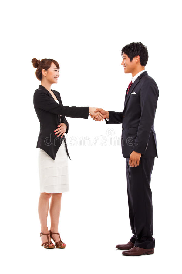 Secousse de couples d'affaires images libres de droits