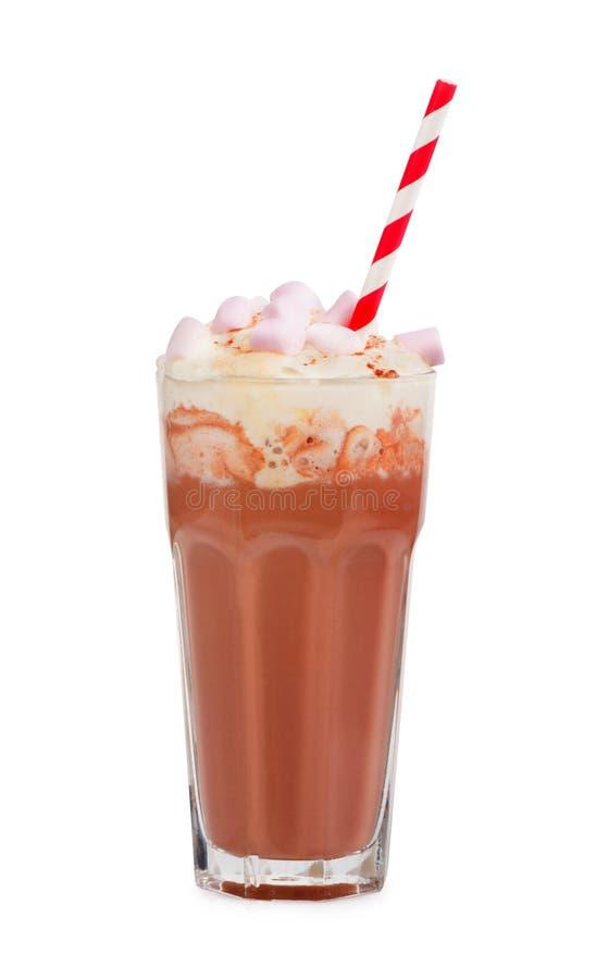 Secousse de lait chocolaté avec la crème fouettée photo libre de droits