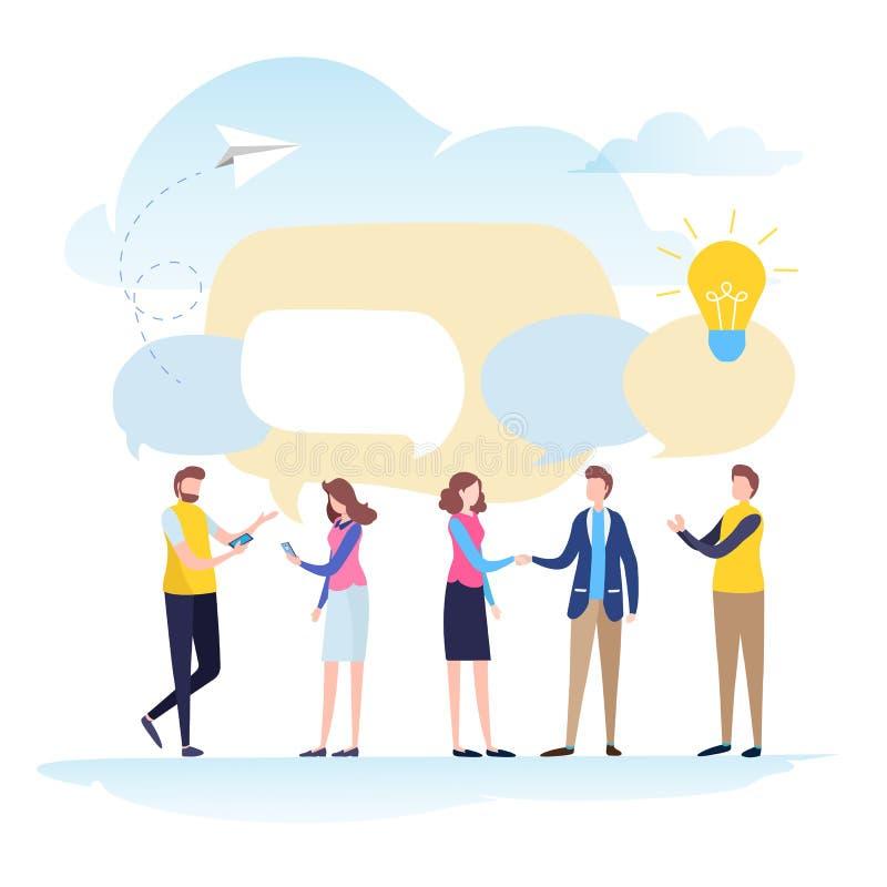 Secousse de main des hommes d'affaires, recrutement, ressources humaines, bulle de la parole, message, causerie, conversation, co illustration de vecteur