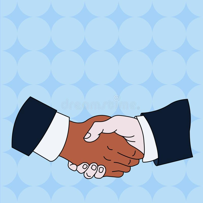 Secousse de main entre les associés masculins multiraciaux ou les collègues portant les chemises blanches formelles et les costum illustration libre de droits