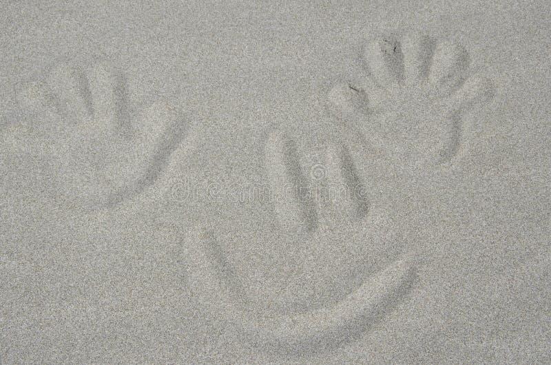 Secousse de sourire de visage et de main sur la plage image stock