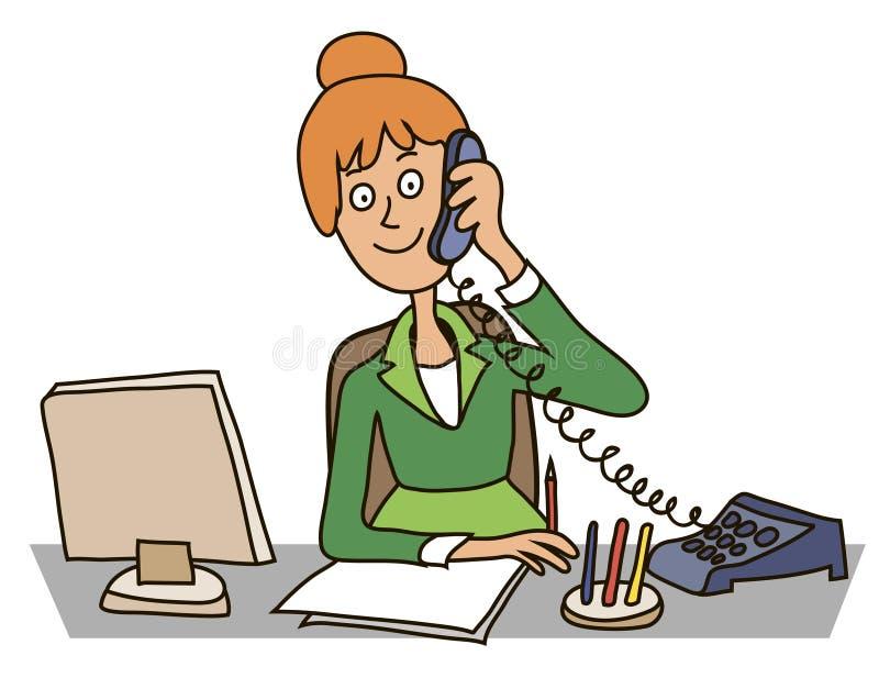 Secrétaire dans le bureau illustration stock