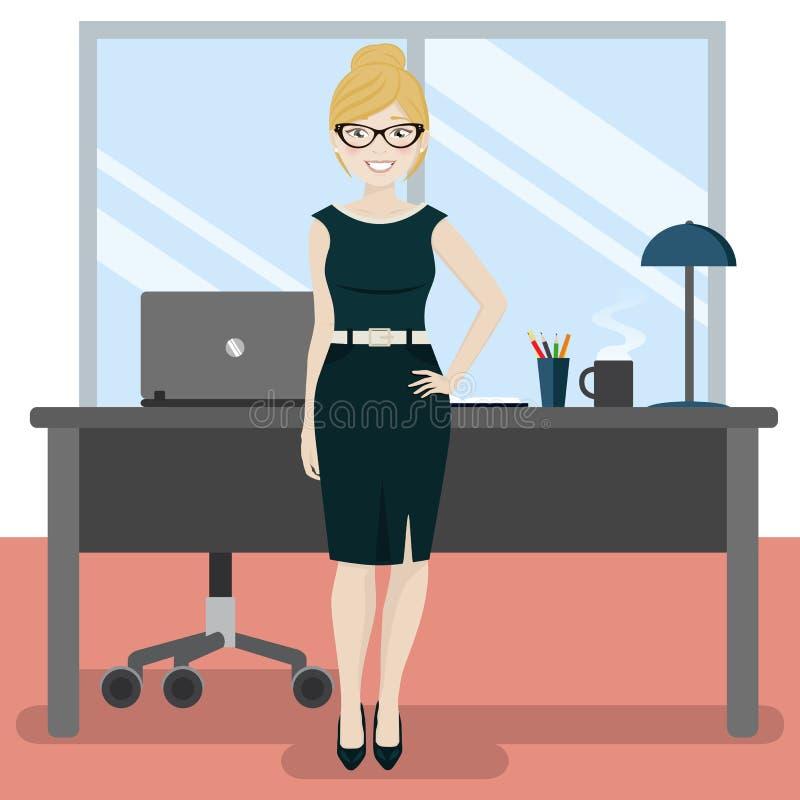 Secrétaire mignon au bureau avec l'ordinateur portable et le café illustration de vecteur