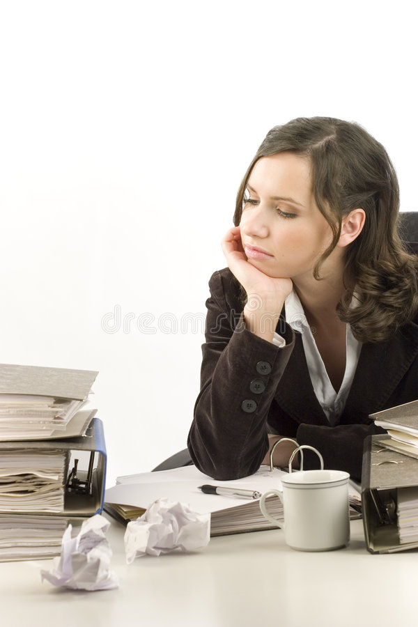 Secretária deprimida foto de stock royalty free