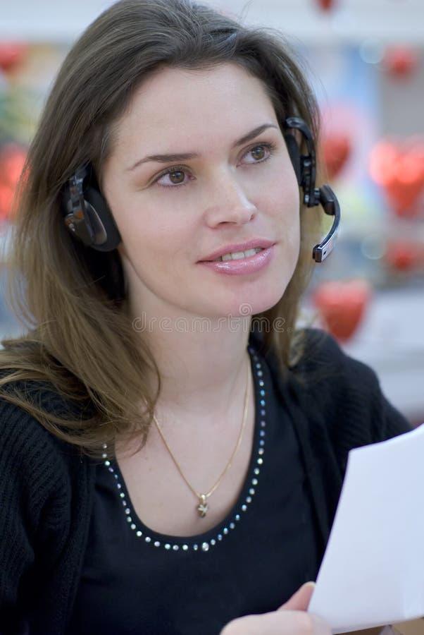 Secretária do centro de chamadas fotografia de stock