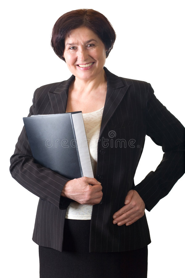 Secretária ou mulher de negócios de sorriso atrativa madura isolada foto de stock