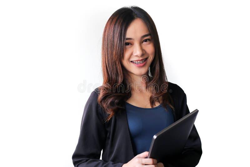 Secretário Ásia da mulher de negócio no fundo branco imagem de stock royalty free