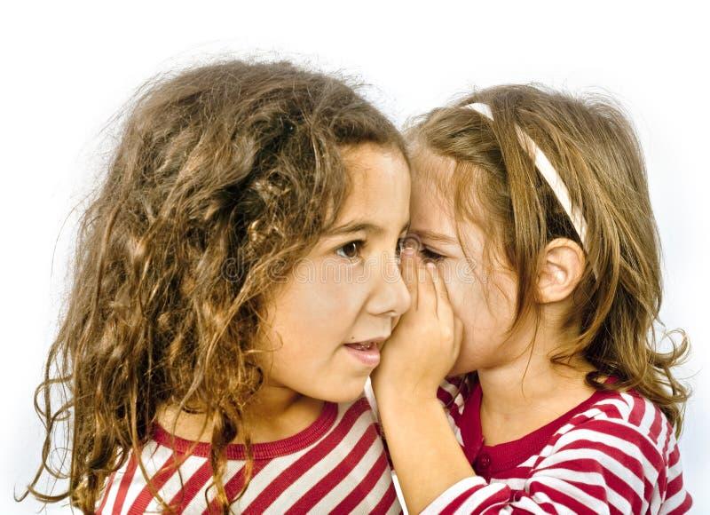 Secret. Two girls telling a secret stock image